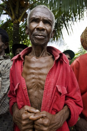 A man awaiting his turn at the seed distribution in Maniche, 25km north of Les Cayes - © Giulio Napolitano