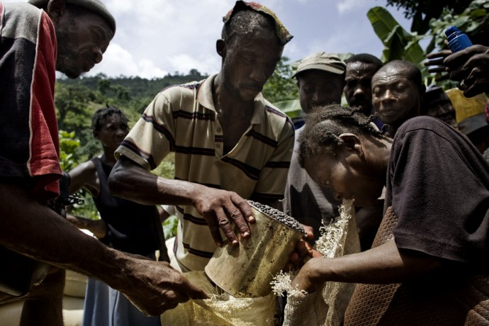 People receiving their seeds in Maniche, 25km north of Les Cayes  - © Giulio Napolitano