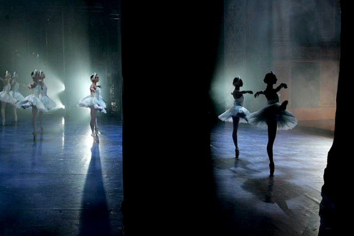 Backstage view of dancers performing Pyotr Ilyich Tchaikovsky