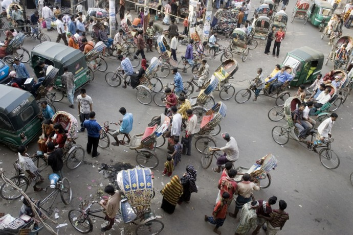 Rickshaws jam the streets in the Old Town, Dhaka - © Giulio Napolitano