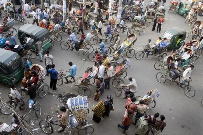 Rickshaws jam the streets in the Old Town, Dhaka - © Giulio Napolitano